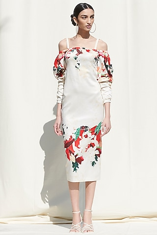 White Printed Off Shoulder Dress by Mandira Wirk