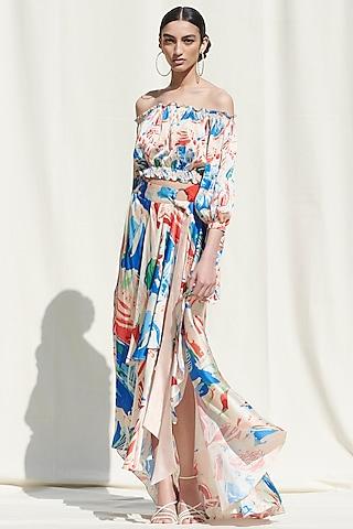 White Printed Off Shoulder Skirt Set by Mandira Wirk