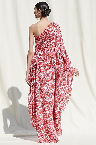 Pink Printed Off Shoulder Draped Dress by Mandira Wirk