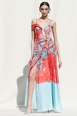 Red Printed Wrap Dress by Mandira Wirk