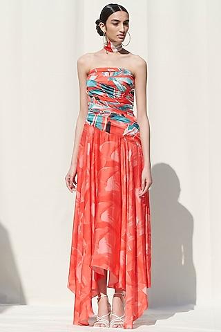 Red Printed Off Shoulder Dress by Mandira Wirk