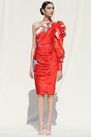 Red Printed One Shoulder Dress by Mandira Wirk