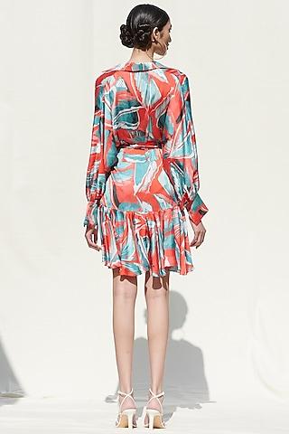 Powder Blue Printed Pleated Dress by Mandira Wirk