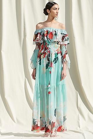 Sky Blue Smocked Off Shoulder Dress by Mandira Wirk
