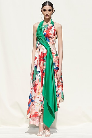 Green Printed Draped Dress by Mandira Wirk