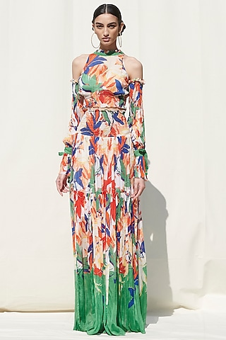 White Printed Smocked Skirt Set by Mandira Wirk
