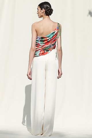 White Printed One Shoulder Pant Set by Mandira Wirk