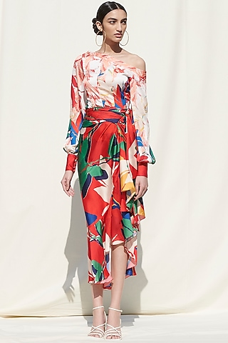 Red Printed Panelled Skirt Set by Mandira Wirk