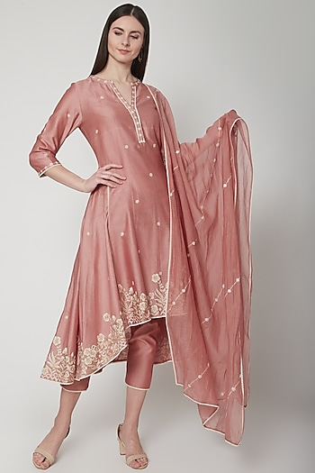Dusty Pink Embroidered Anarkali Set by Mandira Wirk