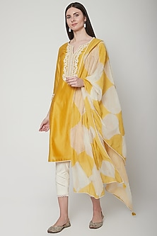 Yellow Embroidered Kurta Set by Mandira Wirk