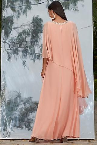 Peach Sequins Embroidered Kaftan Dress by Mandira Wirk