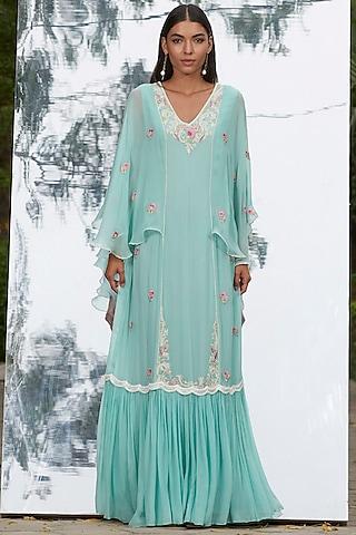 Sky Blue Embroidered Kaftan by Mandira Wirk