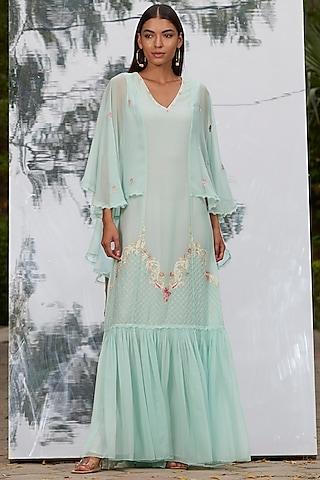 Mint Blue Embroidered Kaftan by Mandira Wirk