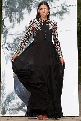 Black Embroidered Tiered Dress by Mandira Wirk