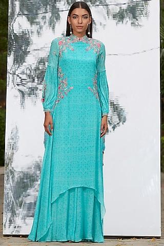 Blue Printed & Embroidered Dress by Mandira Wirk