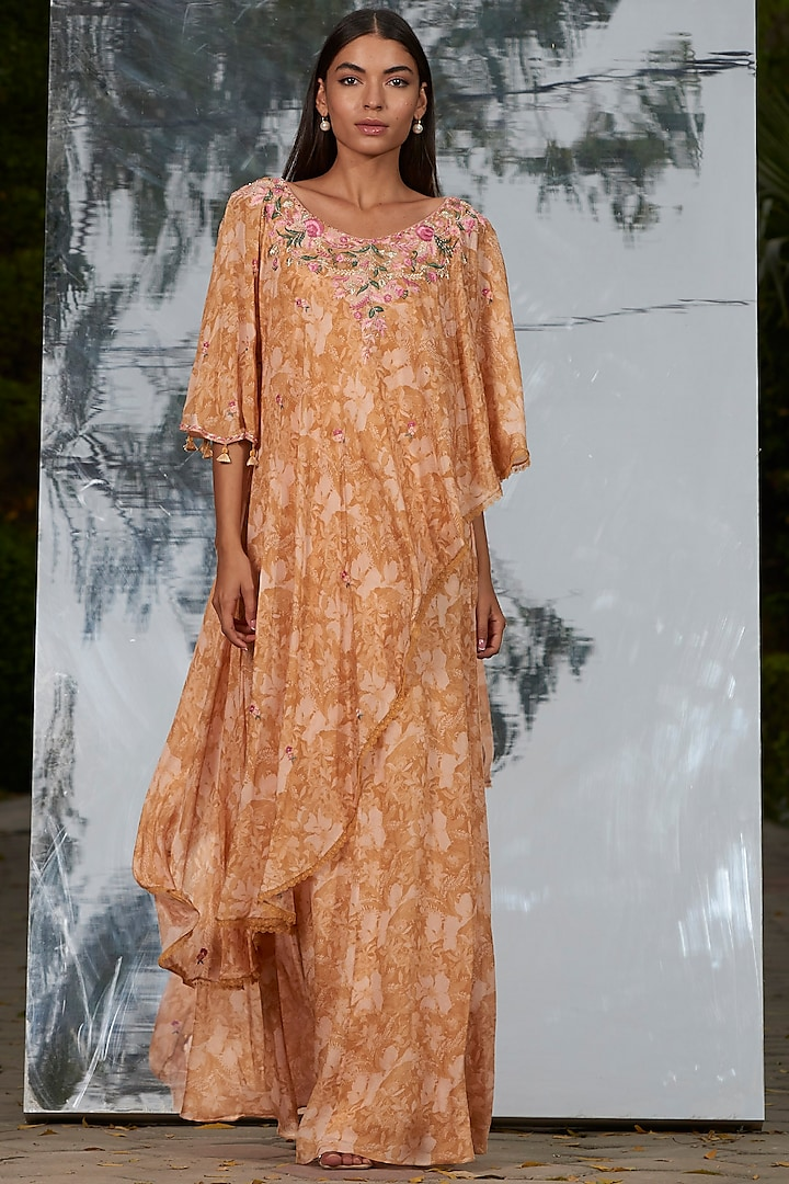 Multi Colored Printed & Embroidered Kaftan by Mandira Wirk