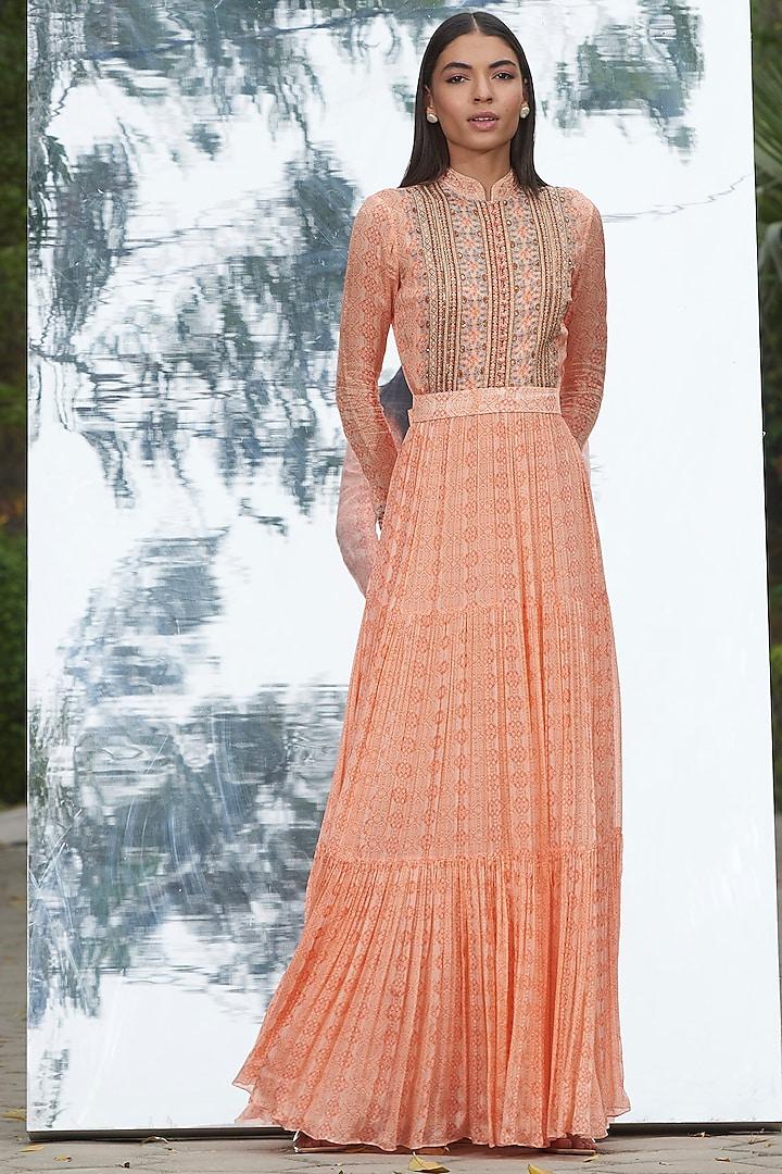 Peach Embroidered & Printed Dress by Mandira Wirk
