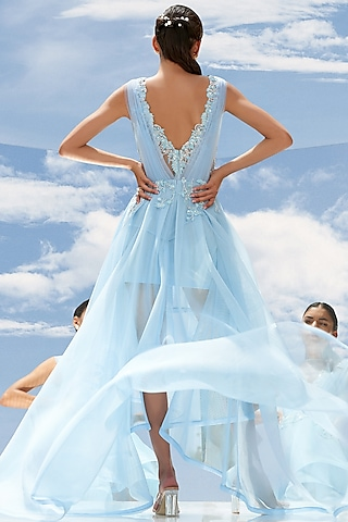 Sky Blue Embroidered Gown by Mandira Wirk