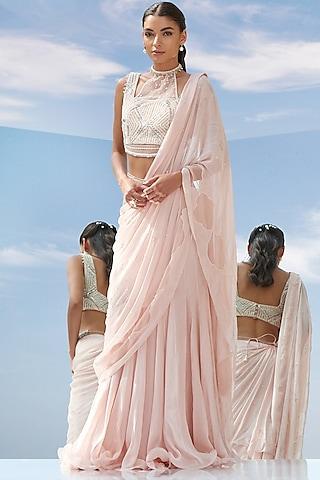 Peach  Embroidered Draped Saree Set by Mandira Wirk
