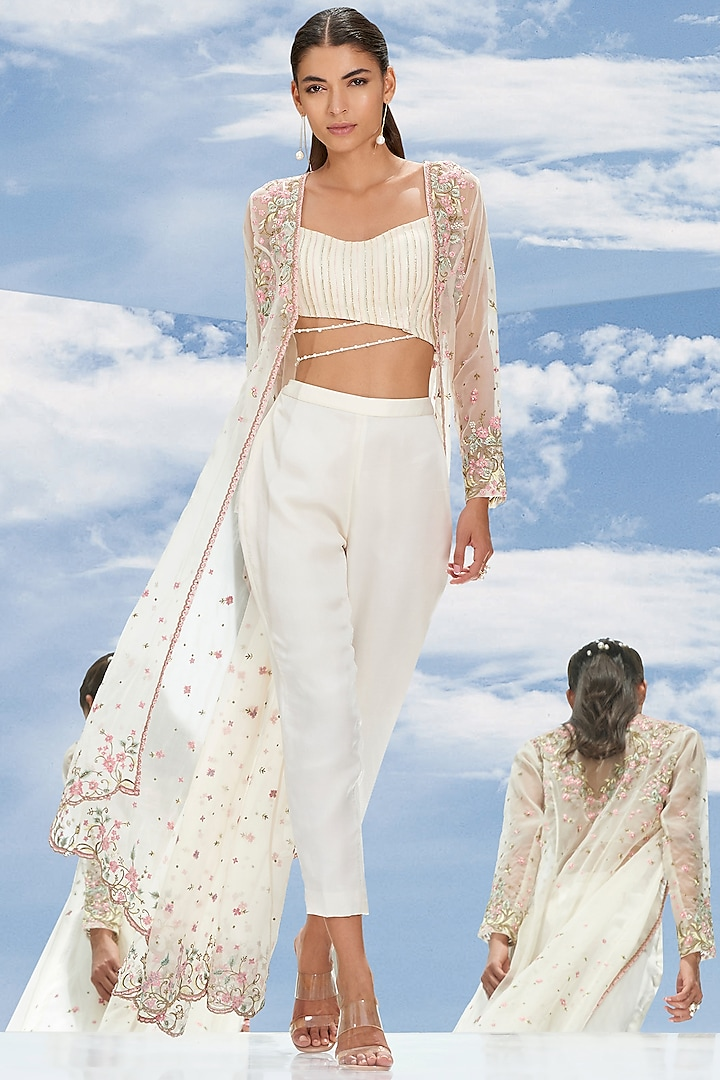 Ivory Embroidered Crop Pant Set by Mandira Wirk
