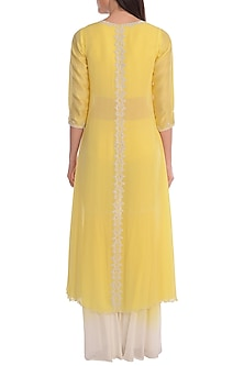 Yellow Embroidered Sheer Jacket With Blouse & Palazzo Pants by Mandira Wirk