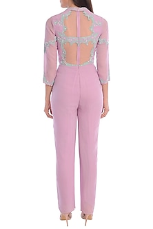 Lilac Embroidered Jumpsuit by Mandira Wirk