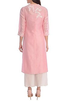 Pink Embroidered Kurta With Ivory Palazzo Pants by Mandira Wirk