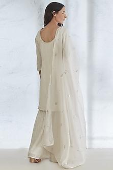 Ivory Embroidered Kurta Set by Mandira Wirk