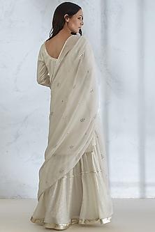 Ivory Embroidered Sharara Set by Mandira Wirk
