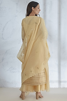 Pale Yellow Hand Embroidered Sharara Set by Mandira Wirk