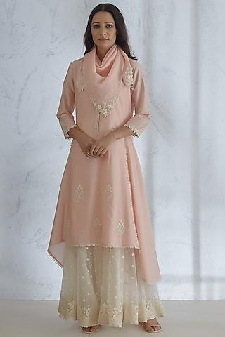 Peach Pearl & Dori Embroidered Kurta Set by Mandira Wirk