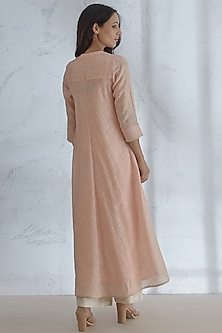 Peach Embellished Kurta With Palazzo Pants by Mandira Wirk