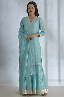 Light Blue Gota Embroidered Kurta Set by Mandira Wirk