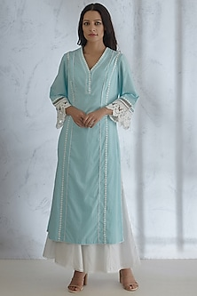 Light Blue Lace Kurta With Pants by Mandira Wirk
