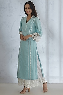 Light Blue Kurta With Pants by Mandira Wirk