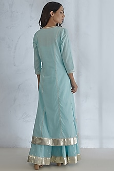 Light Blue Embroidered Textured Kurta Set by Mandira Wirk