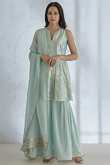 Aqua Blue Foil Printed Sharara Set by Mandira Wirk