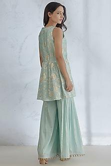 Aqua Blue Foil Printed Sharara Set by Mandira Wirk