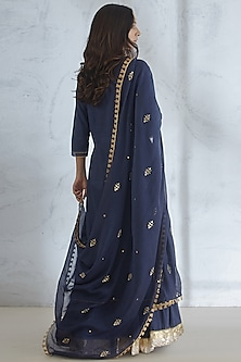 Navy Blue Embroidered Sharara Set by Mandira Wirk