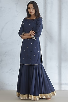 Navy Blue Embroidered Kurta Set by Mandira Wirk