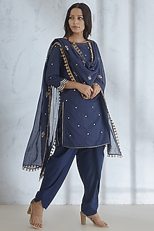 Navy Blue Embroidered Dhoti Set by Mandira Wirk