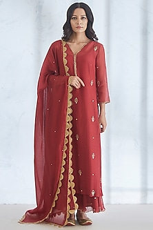 Wine Embroidered Kurta Set by Mandira Wirk
