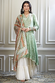 Green Embroidered & Printed Sharara Set by Mandira Wirk-SHOP BY STYLE