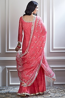 Pink Embroidered Sharara Set by Mandira Wirk