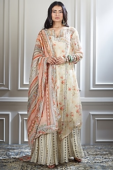 Ivory Embroidered & Printed Sharara Set by Mandira Wirk