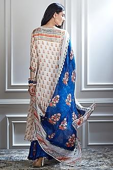 Ivory & Blue Sharara Set With Mirror Embellishment by Mandira Wirk