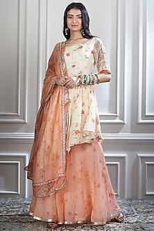 Ivory & Orange Printed Asymmetric Kurta Set by Mandira Wirk