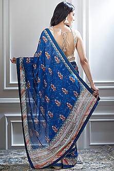 Blue Printed Saree Set by Mandira Wirk