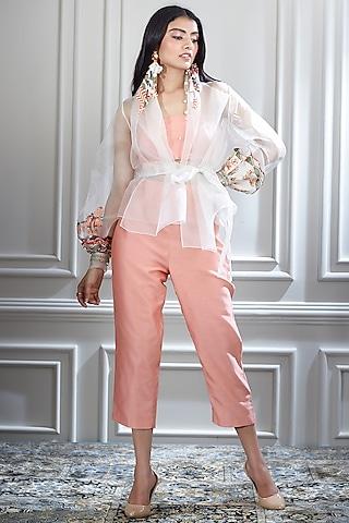 White & Coral Embroidered Jacket Set by Mandira Wirk