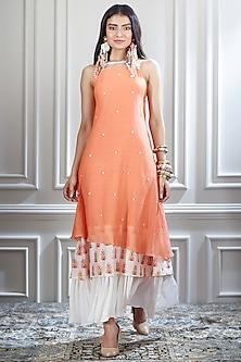 Orange & White Hand Embroidered Dress by Mandira Wirk